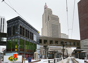 An enclosed stairway and elevator connecting the Green Line's Central Station platform to a skyway should be complete by spring. The station is bounded by Fourth, Fifth, Cedar and Minnesota streets in downtown St. Paul. (Staff photo: Bill Klotz)