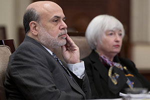 Fed Chairman Ben Bernanke, left, said last month that the Federal Open Market Committee may taper its bond-buying stimulus by about $10 billion per gathering. Vice Chairman Janet Yellen, right, is set to succeed Bernanke after his term ends Jan. 31. (Bloomberg News file photo)