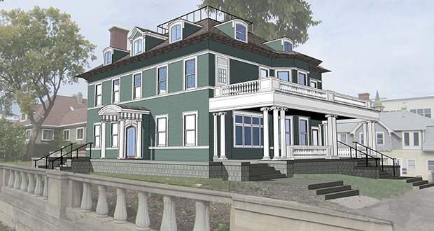 The Eugene J. Carpenter house, at 300 Clifton Ave. in Minneapolis, was completed in 1906 and was placed on the National Register of Historic Places in 1977. (Submitted rendering: Adsit Architecture and Planning)