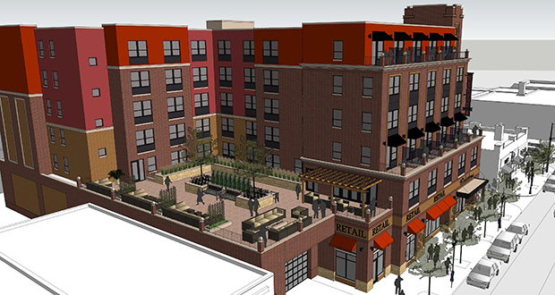 Bloomington-based Doran Cos. has proposed a 125- to 140-room hotel, called The Graduate, at 1315-1319 Fourth St. SE in Minneapolis. The site is currently home to two buildings hosting various retailers. (Submitted rendering: Doran Architecture)