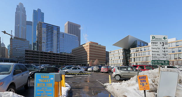 This view of the Ritz Block, at the northeast corner of Nicollet Mall and Fourth Street South in downtown Minneapolis, is north of the Opus Group's Nic on Fifth apartment tower (center left). Opus has plans to develop the block with office space and either apartments or condos, depending on the market. (Staff photo: Bill Klotz)