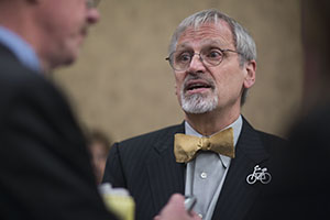 Rep. Earl Blumenauer, D-Ore., speaks to a reporter following a Dec. 4, 2013, news conference in Washington, D.C. Blumenauer introduced H.R. 3636, which would phase in a 15-cents-per-gallon tax increase on gasoline and diesel. (Bloomberg News file photo)