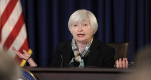 "Federal Reserve Chair Janet Yellen speaks at a news conference March 19. Yellen said Wednesday that with the job market still weak, the central bank intends to keep short-term rates near zero for a ""considerable"" time and would raise them only gradually. (AP Photo: Susan Walsh)"
