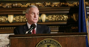 "Calling it a ""monumental victory,"" Gov. Mark Dayton hailed the tax-relief bill an hour before the final House vote. (File photo)"