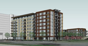 This west-facing view shows Greystar's proposed apartment project at 2626 W. Lake St. in Minneapolis, which is immediately east of the Calhoun Beach Club apartments (top) and just north of Lake Calhoun.(Submitted rendering: ESG Architects)