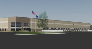 Launch Properties' proposed 150,000-square-foot industrial building is the first of two planned for a vacant site in Lake Elmo. The developer hopes to construct two buildings at the northeast corner of Lake Elmo Avenue and Hudson Boulevard. (Submitted rendering)