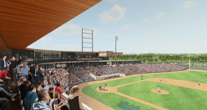 The city of St. Paul and Ryan Cos. US Inc. have finalized a contract that locks in the $63 million budget for the new Saints ballpark at Fifth and Broadway streets in the Lowertown area of downtown St. Paul. (Submitted rendering)