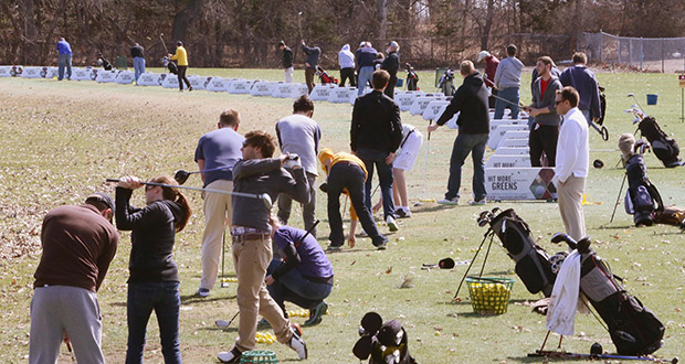 The driving range at Les Bolstad Golf Course, 2275 Larpenteur Ave. W. in Falcon Heights, was open for business last week. A proposed indoor training facility would enable golfers to practice in all weather conditions. (Staff Photo: Bill Klotz)