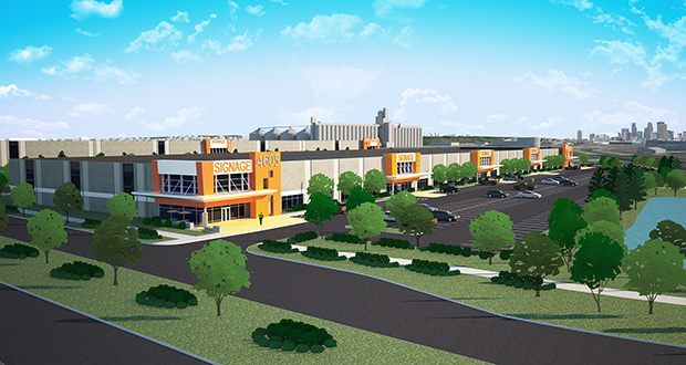 Minneapolis-based Hyde Development's long-term redevelopment in Fridley will begin this spring with construction of a 213,000-square-foot bulk warehouse (back) and will continue with a 135,000-square-foot office warehouse later (front) when a tenant is secured. (Submitted rendering)