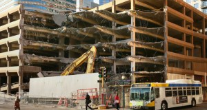 Demolition of the parking ramp at 401 Nicollet Mall, known as the Baker Ramp, began this week and is scheduled for completion by June. (Staff photo: Bill Klotz)