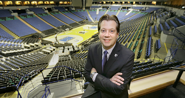 """Timberwolves vice president Ted Johnson says one of the goals of the renovation of Target Center is to improve the game experience for a broad array of fans. """"We want to provide amenities not just for the fans in the higher-priced seats but also to add something for fans in the upper deck,"""" he said. (Staff photo: Bill Klotz)"""