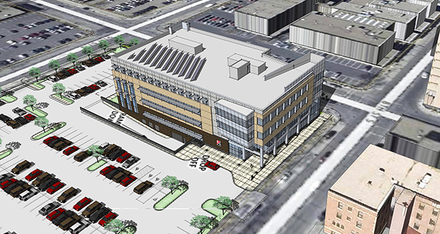 Kraus-Anderson's new headquarters at 525 S. Eighth St. in Minneapolis would have landscaping, green space, underground parking and 194 surface parking spaces as currently planned. The surface parking would require a variance from the city. (Submitted rendering: Pope Architects)