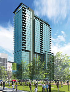 Minneapolis-based Ryan Cos. US Inc. is partnering with Carlson Rezidor Hotel Group to build a 150-room Radisson Red hotel and a 200-unit apartment building under one 27-story roof — a $101 million project. (Submitted rendering)