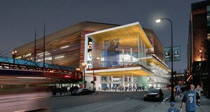 Rendering of the renovated Target Center as seen from Sixth Street. (Submitted rendering: Architectural Alliance/Sink Combs Dethlefs)