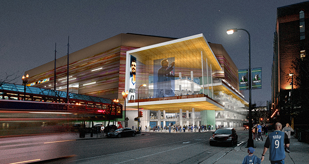 New images of a renovated Target Center were released Tuesday, including this view from Sixth Street. (Submitted rendering: Architectural Alliance/Sink Combs Dethlefs)