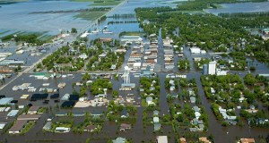 A 2002 flood overwhelmed Roseau's levee system and resulted in plans for permanent flood control. Construction is expected to begin this year on the final phase of the multiyear, $43.8 million project. (Associated Press file photo)