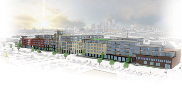 The Satori would include three buildings along the south side West Broadway Avenue, just west of Interstate 94. (Submitted rendering: LSE Architects)