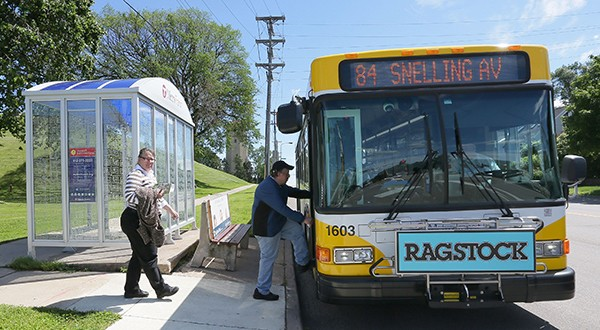 The A Line will feature limited-stop, rapid bus service along Snelling Avenue, Ford Parkway and 46th Street starting at the Rosedale Center regional mall in Roseville, running through St. Paul and ending at a Blue Line light rail transit station in Minneapolis. (File photo: Bill Klotz)