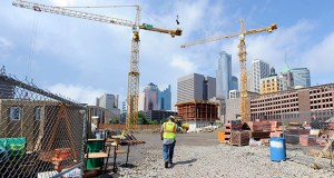 Work continues on the $420 million Downtown East mixed-use development in downtown Minneapolis. Ryan Cos. US Inc. is seeking subcontractor bids for a new $48.9 million parking ramp to serve the new Vikings stadium as well as the development. (Photo: Craig Lassig)
