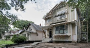 A large, modern home is under construction at 5120 Vincent Ave. S. in the Fulton neighborhood of Minneapolis. The city is looking at changing its building regulations for one- and two-family projects. (Staff photo: Bill Klotz)