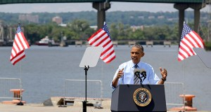 President Barack Obama speaks Thursday in front of the Interstate 495 bridge over the Christina River near Wilmington, Delaware. The bridge was closed for emergency repairs last month. (AP photo: Patrick Semansky)