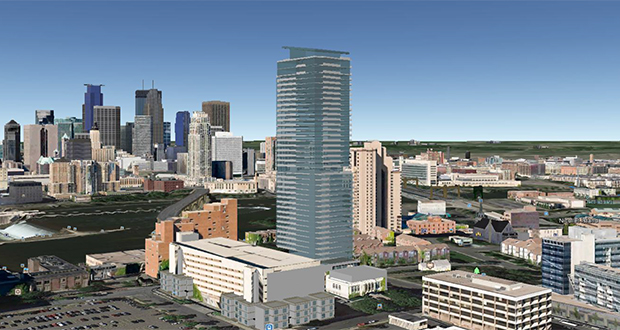 Minneapolis-based Alatus LLC has proposed a 40-story, 325-unit residential tower for 200 Central Ave. SE in Minneapolis. (Submitted rendering: Humphreys & Partners Architects)