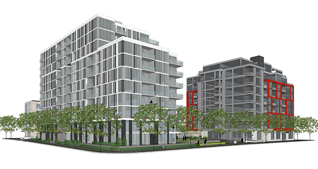 Sherman Associates is proposing a 12-story, 122-unit apartment complex at 935 S. Second St. in Minneapolis. The project would be adjacent to another Sherman project, the Zenith Condominiums (right). (Submitted rendering: ESG Architects)