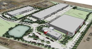 United Properties plans to construct three industrial buildings on 36 acres on the southeast quadrant of Highways 169 and 610 in Brooklyn Park. Wurth Adams will occupy a 165,000-square-foot office-warehouse (right), machine builder Perbix will occupy a 70,000-square-foot office-warehouse (left) and a third 168,000-square-foot building will be developed speculatively. (Submitted rendering)