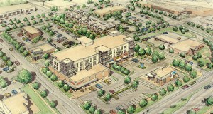 Plans for the New Phalen Village Center show a three-story mixed-use building on the northeast quadrant of Phalen Boulevard and Clarence Street in St. Paul, with new townhomes planned to the north (background). (Submitted rendering: DJR Architecture)