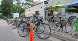 The Birchwood Café, at 3311 E. 25th St. in Minneapolis, is the first business in the city to install a bike corral. (Staff photo: Bill Klotz)
