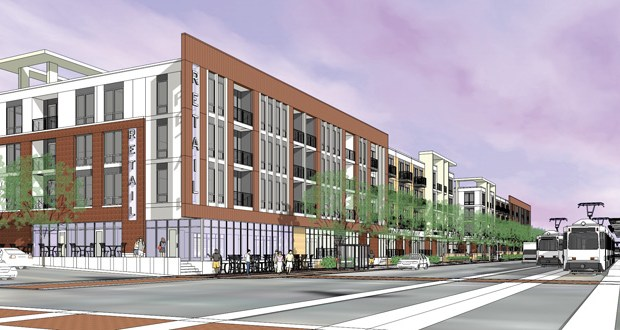 The Project for Pride in Living's Hamline Station apartment project at 1333 W. University Ave. in St. Paul is considered a good example of transit oriented development along the Green Line, according to the authors. The project, which will offer 108 mixed-income units, is near the Hamline Station. (Submitted rendering)