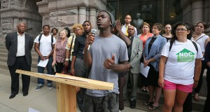 Irondale High School student Virdell Brown speaks at a rally Tuesday with 40 other transit riders and three Minneapolis City Council members to call on the Metropolitan Council to build greater racial and economic equity into the Southwest Light Rail Transit project. (Staff photo: Bill Klotz)