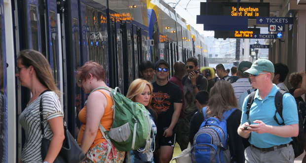 Metro Transit records show the East Bank station on the University of Minnesota's Minneapolis campus, above, is the most popular stop outside of the stations in the downtowns of St. Paul and Minneapolis. (Staff photo:Bill Klotz)