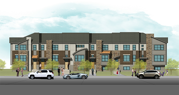 The Ryland Group Inc. wants to buy two parcels owned by Eagan next to the Twin Cities Premium Outlets in order to build 50 row homes or townhomes that would cost between $250,000 and $320,000. (Submitted rendering: The Ryland Group Inc.)