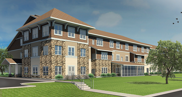 A September groundbreaking is planned for this 67-unit, three-story senior housing development at 500 W. Grant St. in Lake City. (Submitted rendering: Pope Architects)