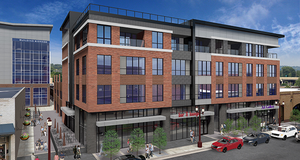 A five-story 40,000-square-foot, mixed-use building along South Front Street will include a restaurant, apartments and additional hospitality space. (Submitted rendering: I+S Group)