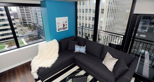 """Floor plans such as this """"Michael"""" unit on the Nic on Fifth's 11th floor offer views of downtown Minneapolis and come for between $2,700 and $2,900 per month. The two-bedroom Michael units are 1,053 square feet. (Photo: Craig Lassig)"""