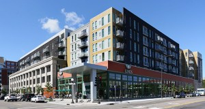 The Penfield Apartments, seen here from the intersection of Robert Street North and East 10th Street in St. Paul, had September occupancy rates 35 percentage points higher than its lender's projections and 23 percentage points higher than the city of St. Paul's forecast. (Staff photo: Bill Klotz)