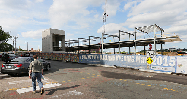 The new $63 million Saints ballpark is rising up from the ground, as seen from Broadway Street on the west side of the ballpark site. (Staff photo: Bill Klotz)