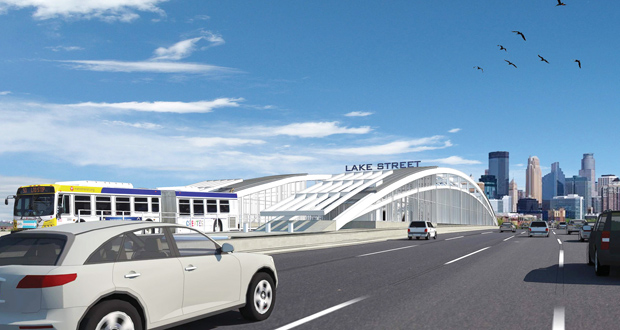 A rendering shows a future station in the center of Interstate 35W at Lake Street in Minneapolis. The station would serve a new Orange Line bus rapid transit route between downtown Minneapolis and Burnsville.  (Submitted rendering: Metro Transit)