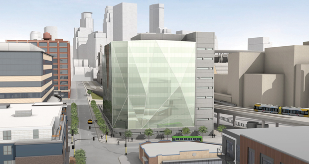 United Properties is considering a 200,000-square-foot office building at the southeast corner of Sixth Avenue North and Fifth Street in Minneapolis. The site is a block northwest of Target Field. (Submitted rendering)