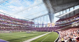 The fritted glass proposed by bird advocates would compromise the ability to clearly see in and out of the stadium, a major design feature as shown in this rendering, according to Michele Kelm-Helgen, chair of the Minnesota Sports Facilities Authority. (Submitted rendering: HKS Architects)