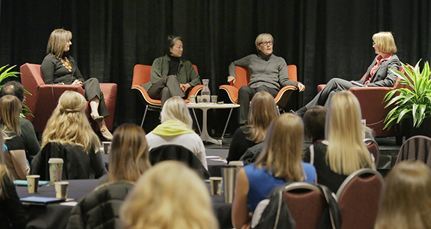 A panel of women architects talked about the business case for women in architecture at an AIA Minnesota event in Minneapolis on Tuesday. From left are Michelle Mongeon Allen, Renee Cheng and Julie Snow. Amy Kalar, right, moderated the discussion. (Staff photo: Bill Klotz)