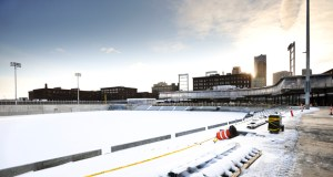 The snow-covered Saints ballpark, as seen from left field, is about 50 percent complete and on track to open in spring 2015, according to Minneapolis-based Ryan Cos. US Inc., the project's design-build contractor. (Photo: Craig Lassig)