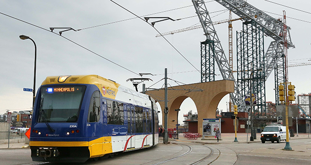 The Minnesota Sports Facilities Authority is looking for a consultant to work on a traffic management plan for the Vikings stadium area, including this location where a light rail train is getting set for departure. (Staff Photo: Bill Klotz)