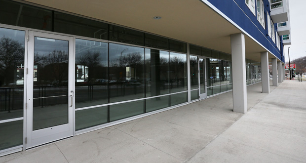 Sherman Associates is partnering with startup website Hoodstarter to crowdsource ideas for its vacant retail space on the first floor of the West Side Flats at 84 Wabasha St. S. in St. Paul. (Staff photo: Bill Klotz)