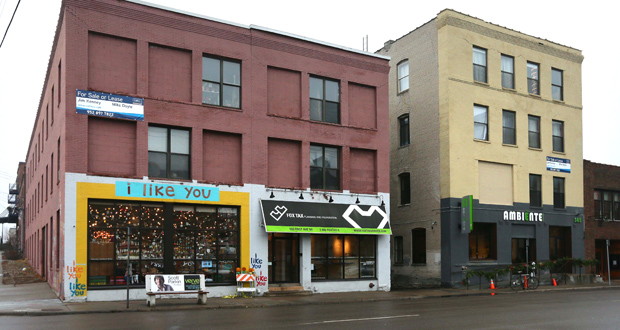 Minneapolis-based First & First has closed on the office and retail buildings at 501, 503 and 505 First Ave. NE in Minneapolis. The creative real estate developer plans to renovate the properties. (Staff photo: Bill Klotz)