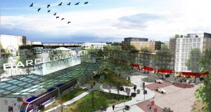 "Proposed spending in the first five years of the Destination Medical Center project in Rochester would include funds to design and plan a transit circulator like the one pictured in this rendering of the planned ""Downtown Waterfront"" district. (Submitted rendering)"