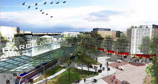 """Proposed spending in the first five years of the Destination Medical Center project in Rochester would include funds to design and plan a transit circulator like the one pictured in this rendering of the planned """"Downtown Waterfront"""" district. (Submitted rendering)"""