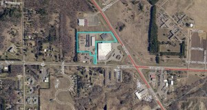 The commercial property at 410 Highway 25 S. in Brainerd, highlighted above, has been acquired by an entity related to Chris Kurtzman, president and CEO of Bang Printing, which is on the adjacent property to the southeast. (Submitted map: Crow Wing County)